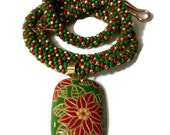 Christmas Poinsettia Kumihimo Necklace