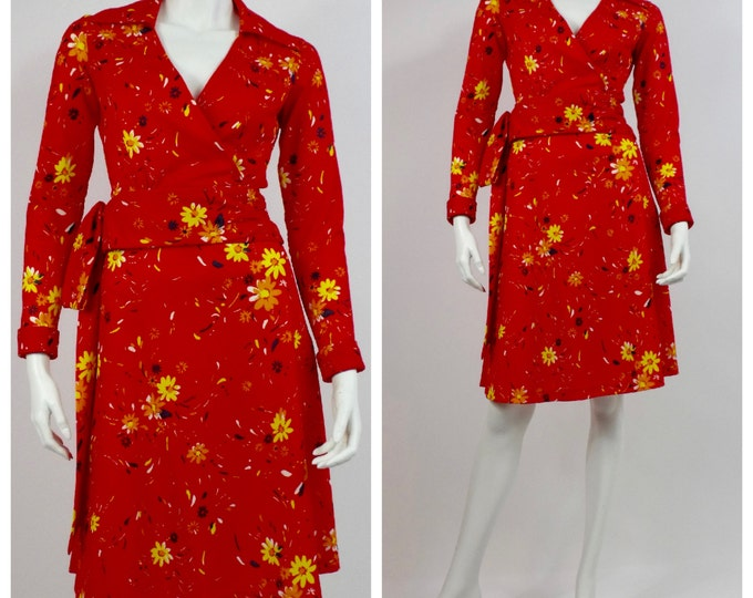 1970's Wrap Front Jersey Top and Skirt - Disco Skirt Suit - Red and Yellow Floral Jersey Knit 2 Piece Dress - DVF Style -  Size Extra Small