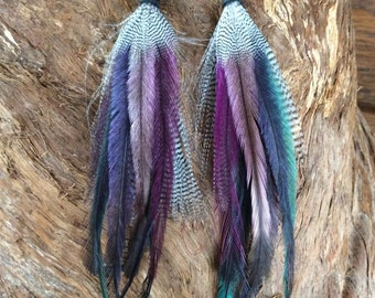 Short Pixie Feather Earrings, Handmade Feather Earings, Feather Accessories, Tribal, Earthy, Gypsy, Boho, Hippie Style Jewelry