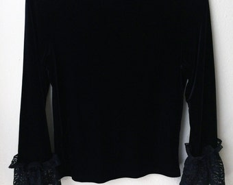 80s Black Velvet Frill Lace Long Sleeve Stretch Goth Punk Mod Psych