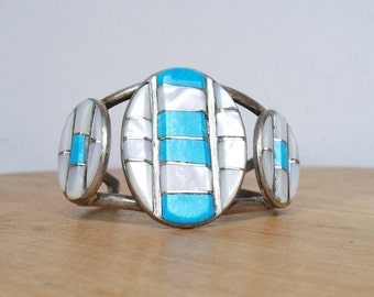 Turquoise & Mother of Pearl CUFF BRACELET Silver Native American Tribal MOP Huge Old Navajo