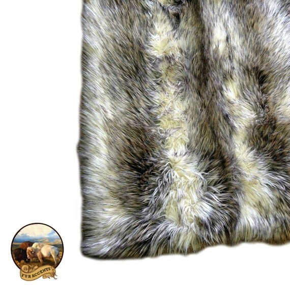 Faux Fur Area Rug Rectangle Shaggy Soft Gray Wolf Stripe
