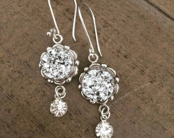 Silver Druzy Earrings - Dangle Earrings Holiday Sparkle Sterling Silver Wires