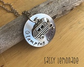 Glamping Queen Necklace Hand Stamped / Charm / Glamping / Camping / Caravan/ Camper / RV / Glamper