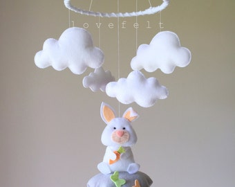 Baby mobile  - bunny mobile - clouds mobile -baby mobile bunny - rabbit mobile