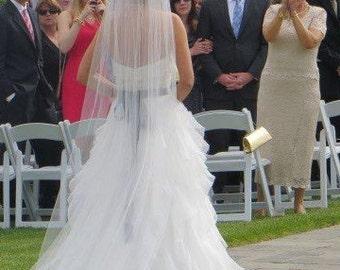 Cathedral length veil, simple wedding veil, single layer veil, ivory, white, diamond white