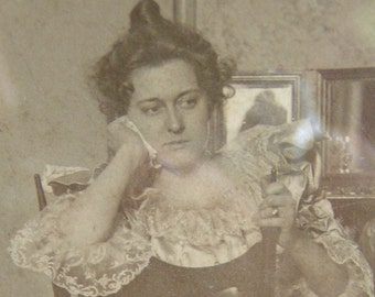 Framed Antique VICTORIAN Woman Photography Hankie in Hand Looking Disinterested Period Glimpse
