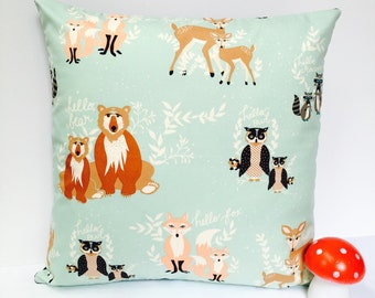 Woodland cushion mint pillow fox cushion fox pillow deer cushion deer pillow bear owl kids cushion kids pillow boys girls blue cushion