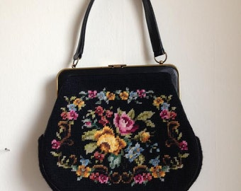 Double Sided Floral Needlepoint Vintage Purse