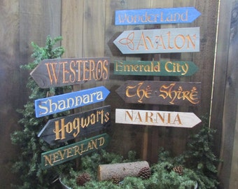 Fantasy Story Signs - Hogwarts Neverland Narnia Alice Wonderland Shire Shannara Westeros Emerald City Wizard Oz Avalon - Cedar Wood Decor