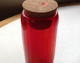 Hand Blown Glass Jar - Fire Beaker Optic with cork