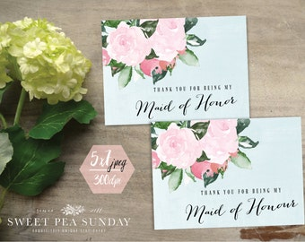 Thank You For Being My Maid of Honour, Maid of Honor | PRINTABLE Card | 5x7 Card | Rustic Vintage Design Digital Download | DD002