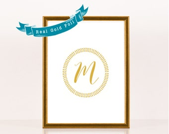 Custom Monogram Sign Gold Foil Art. Personalized Gift. Laurel Wreath. Wedding Reception Sign, Real Gold Foil, Silver Rose Gold. 8x10 or 5x7