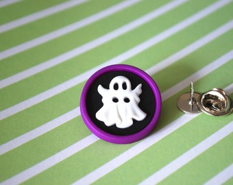 Ghost Pin -- Ghost Brooch, White Ghost Pin, Halloween Pin