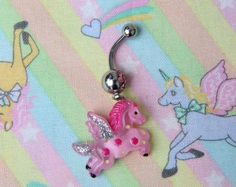 Pink Pegasus Belly Ring