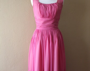 Vintage Jay Herbert Pink Chiffon Fit and Flare Party Dress