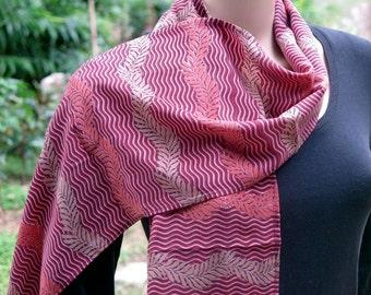 Red Summer Scarf, Silk scarf