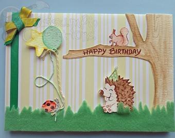 Handmade/Painted Hedgehog & Friends Birthday Card.