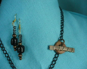 Black and Bronze Bead and Coiled Wire Earrings