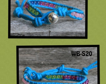 WB-S20 single beaded wrap bracelet - turquoise waxed cotton cord with a mix of jewel tone glass beads