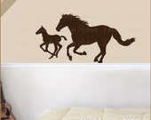 Horses Vinyl Wall Decal, Mare and Foal Sticker, Farm Animal Decor, Country Western, Baby Nursery, Equine Decor A-119