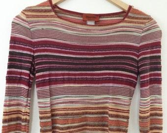 Vintage 90s Missoni Orange Label Mixed Textured Yarn Long Sleeve Top Size XS