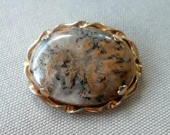 Vintage Gold Jasper Brooch - Gemstone Semi Precious Cabochon Pin