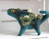 Little mossy dragon, needle felted dragon toy, fantasy dragon figurine