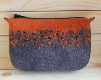 Hand felted cosmetic bag, Bag for accessories and cosmetics
