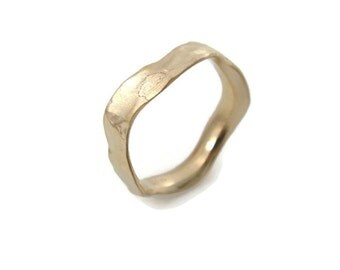 Wavy gold ring. 4.5mm width wedding band- 14k yellow gold  . hes and hers wedding band, matte wedding ring(gr9427-1517)