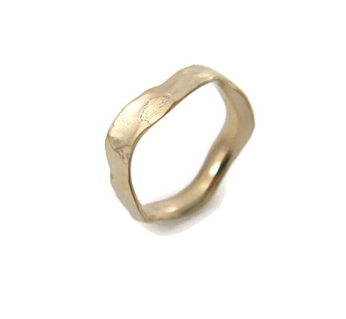 wavy gold ring 4 5mm width wedding band 14k yellow gold