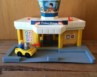 Vintage Fisher Price Jetport Base with Taxi and Two Little People Fisher Price Airport Incomplete 1980s Fisher Price Little People