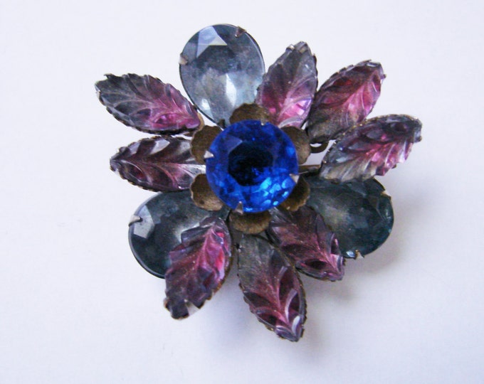 Vintage Art Glass Rhinestone Floral Brooch / Molded Glass / Navettes / Blue / Pink / Grey / Jewelry / Jewellery