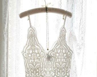 Boho Bohemian Gypsy Sheer White French Lace Crop Top Beautiful Cami Camisole Layering  Romantic Angel