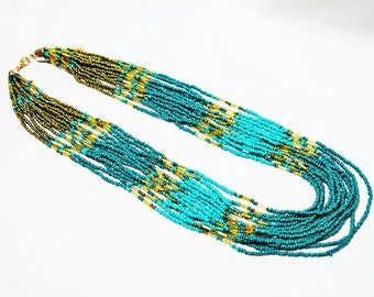 Blue Turquoise Seed Bead Statement Necklace, Seed Bead Necklace, Multistrand Necklace, Seed Bead Jewelry, Gold Seed Beads Necklace
