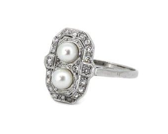The Art Deco Plaque Ring - 18k Gold Diamond Pearl Ring