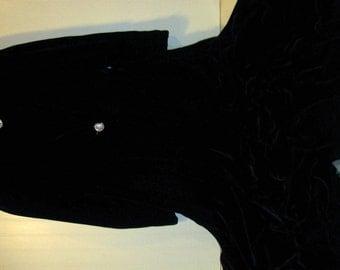 Gorgeous Vintage Long  Black Velvet Opera Style Jacket Coat Cape Small Medium