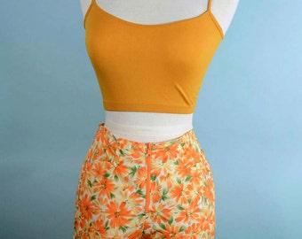 Vintage 80s Orange Daisy Zip Shorts, Roller Disco Streetwear Hip Hop, Beach Board Shorts by Catalina M
