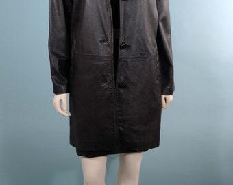 Vintage 60s Black Leather Coat Fluffy Fox Fur Collar, Mod Leather Coat Fur Trim Jacket, Hipster Hollywood Glam Spy Coat M