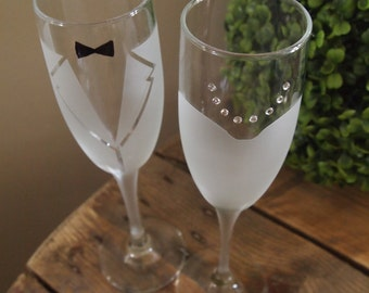 Bride and Groom Frosted Champagne Glasses