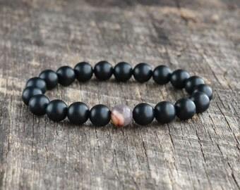8mm Mookaite Jasper Bracelet, Matte Onyx Bracelet, Gemstone Bracelet, Mens Bead Bracelet, Womens Yoga Bracelet, Handmade, Gifts