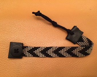 Black & Silver Chevron Seed Bead Loom Bracelet