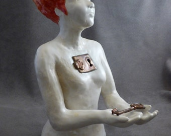 """Flame haired woman with lock and keys, """"Here is the Key to my Heart"""""""