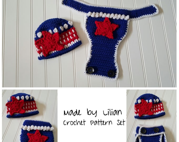 Pattern--American Flag newborn photo prop,Stars & stripes diaper cover, crochet 4th of July star applique beanie, new photo prop pattern