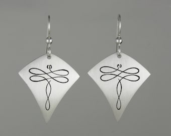 """Calligraphic Dragonfly Earrings, Sterling Silver Arrow-Shaped Discs, 1 5/8"""" long"""