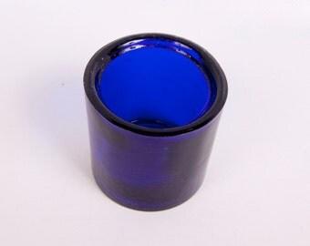 Vintage Cobalt Blue Art Glass Jar Toothpick Holder Trinket Holder Decorative Glass Cobalt Decor
