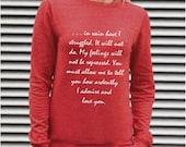 "On Sale Jane Austen Sweatshirt, Mr Darcy's Proposal, Pride & Prejudice Literary Quote, ""You must allow me..."" Vintage Red Book Sweatshirt"