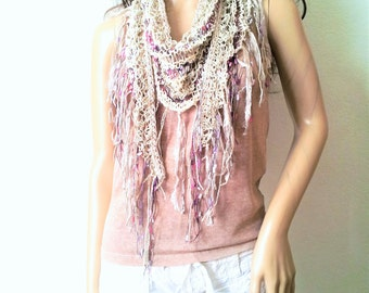 Cream multi-color decolletage scarf, summer, lightweight cotton bamboo, sparkle, boho, wrap, shawl, warm weather, custom colors
