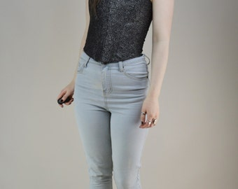 90s Cyber Silver Grey Buckled Boned Bodice Top XS