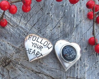 Follow Your Heart Pocket Compass- Inspirational Gifts for Your Valentine or Sweetheart-Graduation Gifts